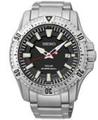 Seiko Men's Solar Dive Stainless Steel Bracelet Watch 45mm Sne279