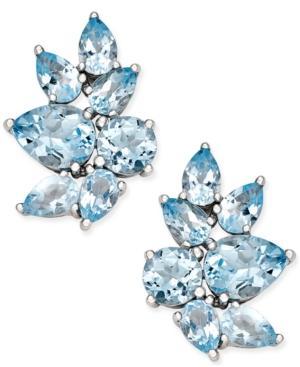 Blue Topaz Drop Earrings (10 Ct. T.w.) In Sterling Silver