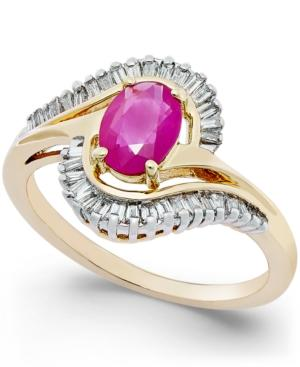Ruby (1 Ct. T.w.) And Diamond (3/8 Ct. T.w.) Swirl Ring In 14k Gold