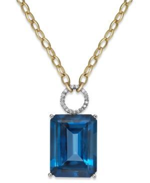 Blue Topaz (26 Ct. T.w.) And Diamond (1/6 Ct. T.w.) Pendant Necklace In 14k Gold