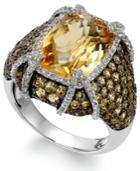 Sterling Silver Citrine (9-3/8 Ct. T.w.) And White Topaz (1/2 Ct. T.w.) Ring