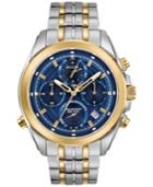 Bulova Men's Chronograph Precisionist Two-tone Stainless Steel Bracelet Watch 44.5mm 98b276