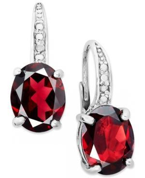 Victoria Townsend Sterling Silver Earrings, Garnet (5-1/2 Ct. T.w.) And Diamond Accent Leverback Earrings