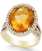 Citrine (9 Ct. T.w.) And Diamond (1 Ct. T.w.) Ring In 14k Gold