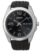 Seiko Men's Solar Black Silicone Strap Watch 45mm Sne277