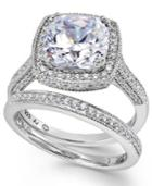 Sterling Silver Ring Set, Swarovski Zirconia Bridal Ring And Band Set (7-5/8 Ct. T.w.)