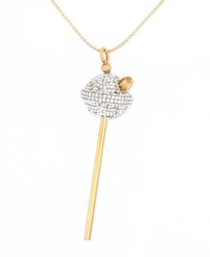 Sis By Simone I Smith 18k Gold Over Sterling Silver Necklace, White Crystal Lollipop Pendant