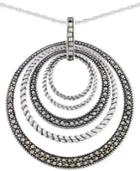 Giani Bernini Marcasite Orbital Pendant Necklace In Sterling Silver