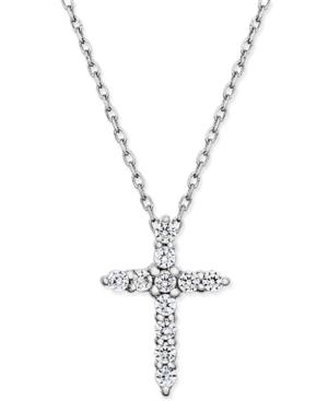 Diamond Cross Pendant Necklace (1/4 Ct. T.w.) In 14k White Gold