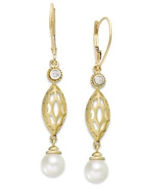 14k Gold Earrings, Cultured Freshwater Pearl (7mm) And Diamond (1/10 Ct. T.w.) Drop Earrings