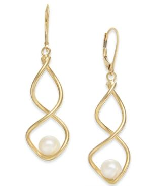 Cultured Freshwater Pearl (7mm) Twist Drop Earrings In 14k Gold