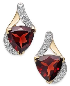Rhodolite Garnet (4 Ct. T.w.) And Diamond (1/8 Ct. T.w.) Drop Earrings In 14k Gold