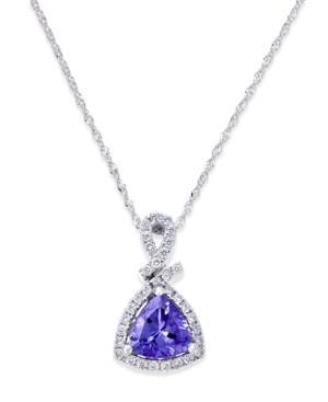 Tanzanite (1-1/10 Ct. T.w.) And Diamond (1/4 Ct. T.w.) Triangle Pendant Necklace In 14k White Gold