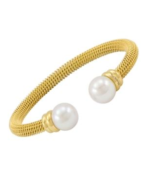 Majorica Bracelet, Organic Man Made Pearl And Gold-tone Stainless Steel Bangle Bracelet