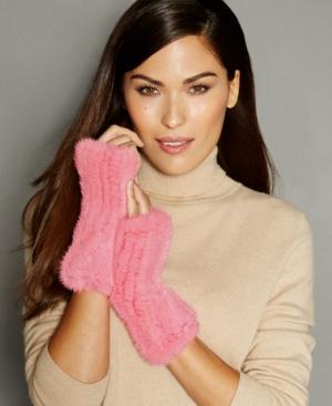 The Fur Vault Fingerless Knitted Mink Fur Gloves