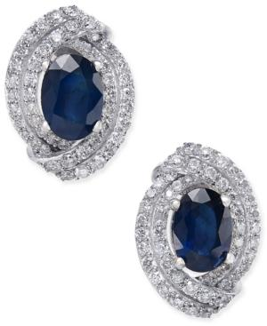 Sapphire (2 Ct. T.w.) And Diamond (5/8 Ct. T.w.) Stud Earrings In 14k White Gold