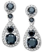 Sterling Silver Earrings, Black Diamond Pear-cut Earrings (1-1/2 Ct. T.w.)