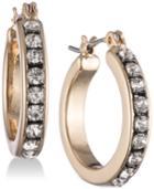 Nine West Tri-tone Pave Huggie Hoop Earrings