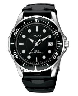 Pulsar Watch, Men's Black Polyurethane Strap Pxh227