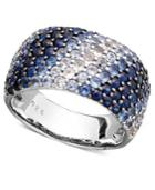 Saph Splash By Effy Shades Of Sapphire Ring (3-1/5 Ct. T.w.) In Sterling Silver