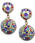 Deepa Silver-tone Crystal Ball Drop Earrings