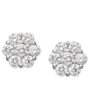 Arabella 14k White Gold Earrings, Swarovski Zirconia Cluster Stud Earrings (1-5/8 Ct. T.w.)