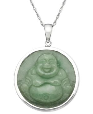 Sterling Silver Necklace, Jade Carved Buddha Pendant