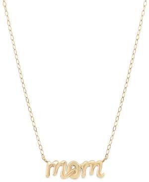 Mom Pendant Necklace In 14k Gold