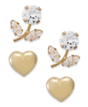 10k Gold Earring Set, Cubic Zirconia (2-3/8 Ct. T.w.) Heart And Flower Stud Earring Set