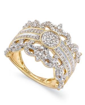 Diamond Ring, 14k Gold Diamond Vintage Crown Ring (3/4 Ct. T.w.)