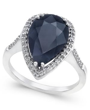 Black Sapphire (6 Ct. T.w.) And White Topaz (1/4 Ct. T.w.) Ring In Sterling Silver