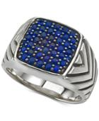Esquire Men's Jewelry Sapphire Cluster Ring (1/2 Ct. T.w.) In Sterling Silver, Created For Macy's