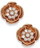 Diamond Accent Rose Stud Earrings In 10k Rose Gold