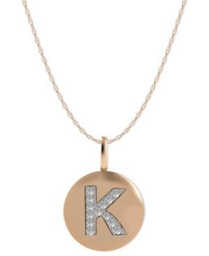 14k Rose Gold Necklace, Diamond Accent Letter K Disk Pendant