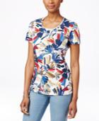 Karen Scott Scoop-neck Tee, Graphic Floral Print