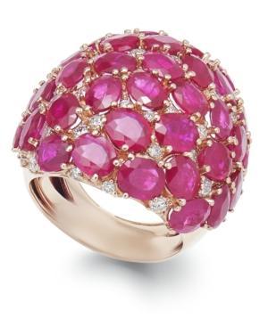 Ruby (18 Ct. T.w.) And Diamond (9/10 Ct. T.w.) Dome Ring In 14k Rose Gold