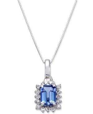 Tanzanite (1 Ct. T.w.) & Diamond (1/4 Ct. T.w.) Halo Pendant Necklace In 14k White Gold