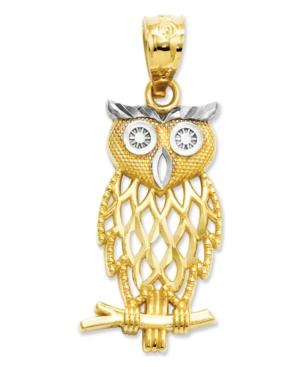 14k Gold And Sterling Silver Charm, Owl Charm
