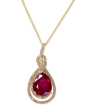 Effy Ruby (2-2/3 Ct. T.w.) And Diamond (1/4 Ct. T.w.) Pendant Necklace In 14k Gold
