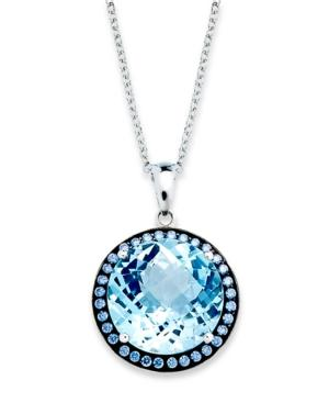 Sterling Silver Necklace, Blue Swarovski Zirconia (5/8 Ct. T.w.) And Blue Topaz (11 Ct. T.w.) Round Halo Pendant