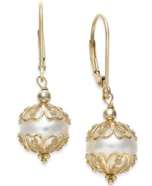 Cultured Freshwater Pearl (9-1/2mm) Earrings In 14k Gold
