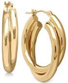 Double Overlapped Hoop Earrings In 14k Gold
