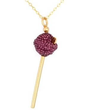 Sis By Simone I Smith 18k Gold Over Sterling Silver Necklace, Purple Crystal Mini Lollipop Pendant