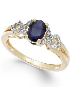 Sapphire (1 Ct. T.w.) And Diamond (1/8 Ct. T.w.) Ring In 14k White Gold