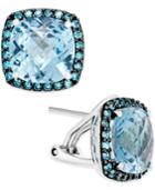 Blue Topaz (5-3/4 Ct. T.w.) And Swarovski Zirconia Accent Earrings In Sterling Silver