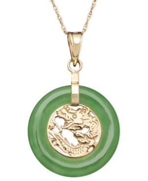 10k Gold Necklace, Jade Dragon Circle Pendant