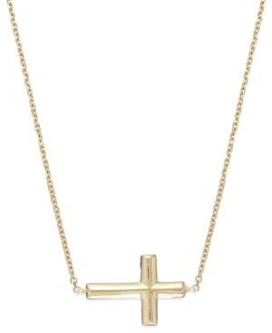 14k Gold Necklace, Sideways Cross Necklace