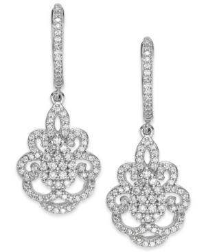 14k White Gold Diamond Victorian Drop Earrings (1 Ct. T.w.)