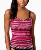Profile By Gottex Striped D-cup Tankini Top Women's Swimsuit
