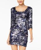 Crystal Doll Juniors' Floral Sequined Bodycon Dress